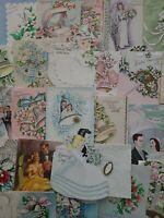 42 Vtg Wedding Greeting Cards Bride Groom Bell Embellished scrapbook Lot 40s-50s
