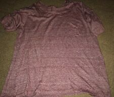 Red Maroon Striped Pocket T Shirt Women's Large