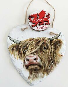 Decoupage, Highland cow, cattle, farm, hanging heart slate home decor animals