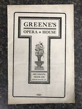 Vintage Greene's Opera House 1908 - 09 Season Advertisement Booklet Cedar Rapids