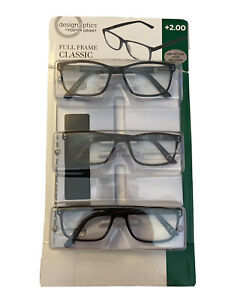 Design Optics by Foster Grant Full Frame Classic Readers +2.00 w/case