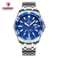 CHENXI Men Watch Large Dial Stainless Steel Business Quartz Calendar Wristwatch