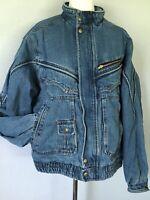 **L** EAGLES RIDGE men's shabby faded denim insulated zip snap front Jacket Coat