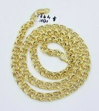 """Mens Real Gold Necklace Chino Chain 10k Yellow Gold Chino 6mm 22"""" Lobster Clasp"""