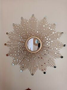 "Beautiful Handmade Gold 30"" Glam Sunburst Mirror, Starburst mirror, Wall Mirror"