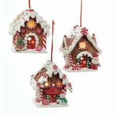 Kurt Adler Gingerbreand LED Lighted House Christmas Tree Decor Ornament-Set of 3
