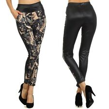 Faux Leather Print High Waist Leggings Stretch Pants ONE SIZE
