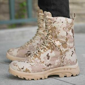 Mens High Top Camouflage Mid Calf Boots Lace-up Outdoor Outdoor Boot Warm Shoes