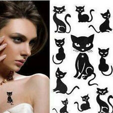 10X Small Black Cat Waterproof Temporary Tattoos Body Arts Flash Tattoo Sti Nc