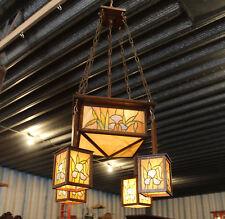 Antique Leaded Glass Mission Arts & Crafts Oak Chandelier Hanging Light Fixture