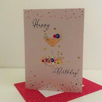 ICG Female Happy Birthday Card Cocktail Flowers Hearts/6303