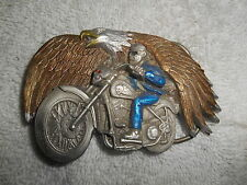 Vintage Great American Product Usa Pure Pewter Motocycle Buckle 4007