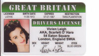 Vivien Leigh star of Gone with the Wind Rhett Butler ID card Drivers License