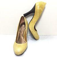 Women's BCBG Girls Leather Yellow Snake Print High Heel Pumps SZ EU 36.5 US 6 B