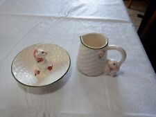 Avon Bunny Rabbit Ceramic Creamer Easter & Jelly Bean Dish