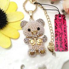 Rare~ Betsey Johnson Rhinestone Teddy Bear Bow-tie Necklace & Free gift