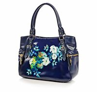 Jack French London Marina Navy Placement Floral Ladies Handbag RRP £239