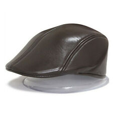 Mens Ivy Cap PU Leather Bunnet Newsboy Beret Cabbie Gatsby Flat Golf Hat