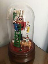 "San Francisco Music Box - Nutcracker w/ Christmas Elf Toy Maker Glass Dome 9"""