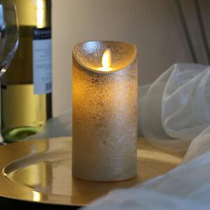 LED Kerze Echtwachs f.Laterne bewegliche Flamme Auspustfunktion Timer Innen gold