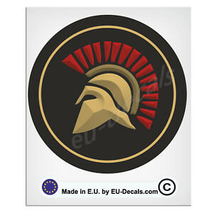 100mm-4'' Round Spartan Helmet in colors Laminated Decal Sticker classic hotrod