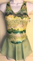 GK ICE SKATE ADULT SMALL GREEN SEISMIC LYCRA PRINT FOIL CAMISOLE DRESS AS NWT!