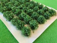 Mid Green Leafy Bush Tufts - Model Scenery Railway Static Grass Hedge Wargames