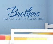 Wall Decal Sticker Quote Vinyl Lettering Brothers Play Together Boy's Room B33