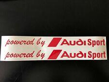 2x powered by Audi Sport Schriftzug / Aufkleber / 60 x 6 cm Rot Hochglanz