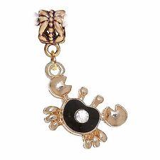 Crab Black Enamel Gold Beach Rhinestone Cancer Dangle Charm for Euro Bracelets