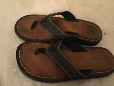 Clarks Womens 6 MnBlack Brown SoleLeather Sandals Thongs Flip Flops Shoes