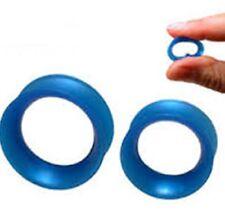PAIR-Flexi Thin Pearl Blue Dark Double Flare Silicone Ear Tunnels 10mm/00 Gauge