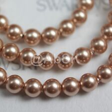 24 pcs Swarovski Element 5810 8mm Round Ball Crystal Pearl Beads - Rose Gold