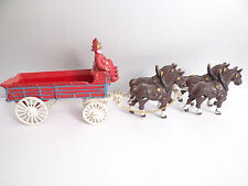 Horse & Cart Wagon Pull Toy Vintage Used Reproduction Metal Cast Iron Firemen