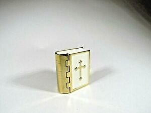 Miniature Bible Good News/New Testament Printed Pages Gold Tone Enameled Binding
