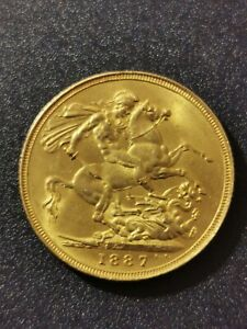 1887 Queen Victoria Gold Sovereign Aunc, London Mint 1st issue , off centered.