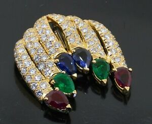 Heavy 18K gold 4.90CTW VS diamond ruby emerald sapphire cluster pendant