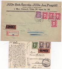 * 1926/9 CZECHOSLOVAKIA REGISTERED COVER & EASTER PPC BOTH SENT EXPRESS MAIL