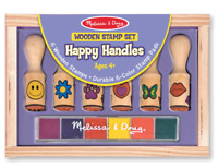 Melissa and Doug Wooden Stamp Set - Happy Handles - 12407 - NEW!