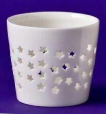 Gisela Graham White Porcelain Stars Candle Holder