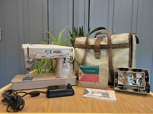 Singer Slant O Matic 403A Sewing Machine 1958 w/ Case/Pedal/Attachments -Tested!