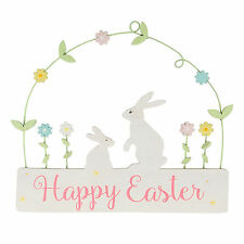 Spring Bunny Happy Easter Hanging Decoration Plaque Rabbit Floral Gift Home
