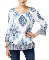 INC New S White Blue Boho Print Blouse On Off Shoulder Two-Way Top $59 NWT