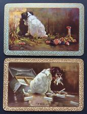 Pair of Vintage Swap/Playing Cards - ENN DOGS - REPENTANT SINNER & - FED UP MINT
