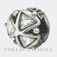 Authentic Troll Bead Silver Crystal Triangles Pendant Trollbeads 12301