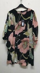 AX Paris Black Floral Sleeve Detail Dress Size 16 {R30}
