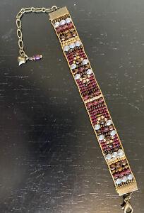 Antique Brass Garnet Ruby Silver Bronze czech beaded bracelet Sundance Inspired
