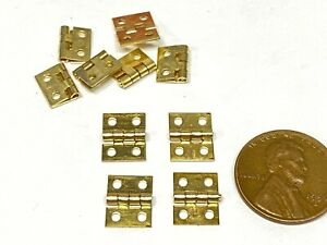 10 Pieces Gold 8mm x 10mm SMALL miniature hinges Doll House TINY HINGE  micro E7