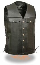 Men's Side Lace Motorcycle Leather Vest with dual inside Gun Pockets