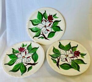 "3 Blue Ridge Southern Potteries, Inc. Magnolia Pattern Dinner Plates 10.5"" MINT"